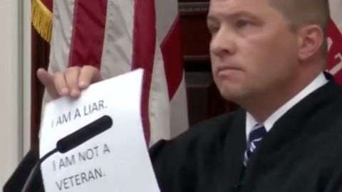 Judge Greg Pinski set forth unique conditions for two men who lied about being military service to become eligible for parole.