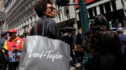 NEW YORK, NY - MAY 12: A woman carries a Lord & Taylor shopping bag in the Herald Square neighborhood in New York City, May 12, 2017. The U.S. Commerce Department says retail sales rose 0.4 percent in April from March. (Photo by Drew Angerer/Getty Images)