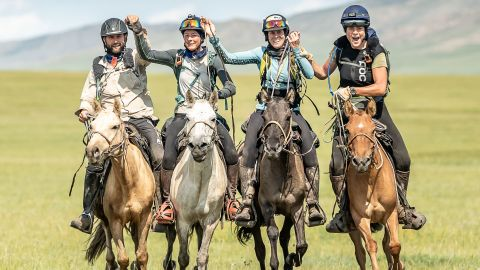A team of four riders finished the mammoth task in joint third.