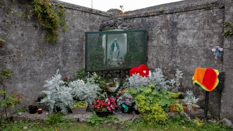 A memorial at the former site of the Tuam Home, where hundreds of babies who died there were put into what is now thought to be a series of chambers located inside a decommissioned sewage tank.