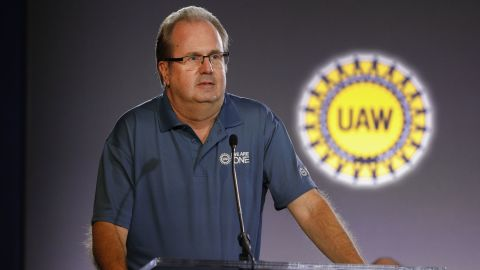 DETROIT, MI - JULY 16: United Auto Workers President Gary Jones speaks at the opening of open the 2019 GM-UAW contract talks where the traditional ceremonial handshake takes place on July 16, 2019 in Detroit, Michigan. With its increasing investment in electric vehicles, General Motors is faced with the challenge of transitioning its employees to work with new technologies. (Photo by Bill Pugliano/Getty Images)