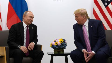 President Donald Trump, right, meets with Russian President Vladimir Putin, left, during a bilateral meeting on the sidelines of the G-20 summit in Osaka, Japan, Friday, June 28, 2019.