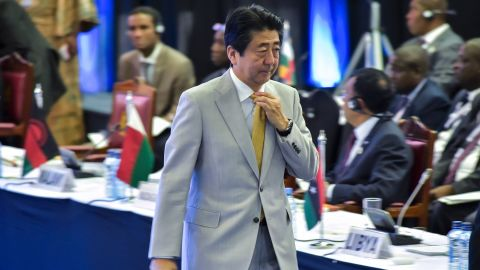 Japanese Prime Minister Shinzo Abe attends the TICAD (Tokyo International Conference on African Development) conference in August 28, 2016 in Nairobi, Kenya.