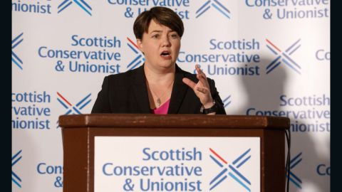 Ruth Davidson announces her resignation in a press conference on Thursday.