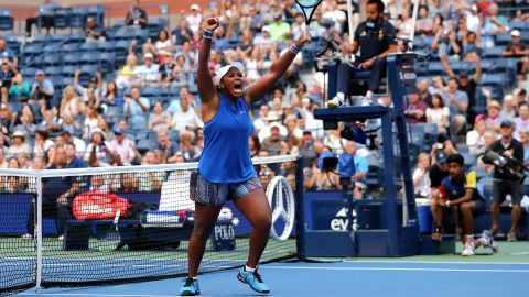 Townsend celebrates her victory over No. 4 Simona Halep, her first over a top-10 player.
