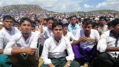 Rohingyans congregate on August 25 to commemorate the second anniversary of the widespread violence that drove them from Myanmar.