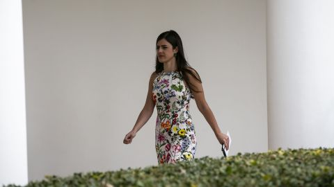 In this March 25, 2019 photo, Madeleine Westerhout walks through the Colonnade of the White House in Washington, D.C.