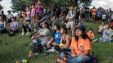 ODESSA, TX - SEPTEMBER 1: People attend a prayer vigil at the University of Texas of the Permian Basin (UTPB) for the victims of a mass shooting, September 1, 2019 in Odessa, Texas. Seven people had been killed, in addition to the gunman and at least 21 others were wounded, including three law enforcement officers after a gunman went on a rampage. The man who has not been identified fled from state troopers who had tried to pull him over. The gunman then hijacked a United States postal van and indiscriminately fired from a rifle at people before the authorities shot and killed him outside a movie theater in Odessa. (Photo by Cengiz Yar/Getty Images)