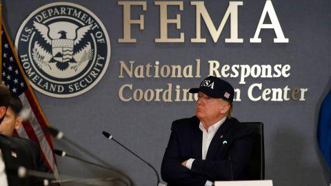 President Donald Trump listens at the Federal Emergency Management Agency (FEMA), Sunday, September 1, 2019, in Washington.