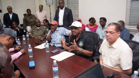 """Agency officials brief Bahamian Prime Minister Hubert Minnis and his cabinet members on September 2. Minnis said many homes, businesses and other buildings have been destroyed or heavily damaged. He called the devastation """"unprecedented and extensive."""""""