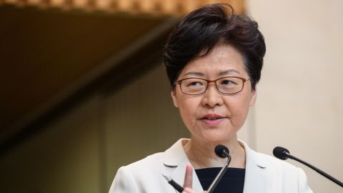 Hong Kong Chief Executive Carrie Lam speaks at a press conference in Hong Kong on August 27, 2019.