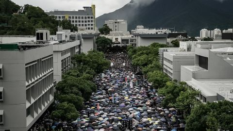 Students take part in a school boycott rally at the Chinese University of Hong Kong on September 2, 2019 in Hong Kong.