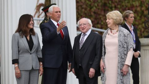 US Vice President Mike Pence and wife Karen Pence, left, meet with Irish President Michael D Higgins and his wife Sabrina at Aras an Uachtarain the official residence of the Irish President , Dublin, Ireland, Tuesday, September 3, 2019. The Vice President is currently in Ireland for a two day visit.
