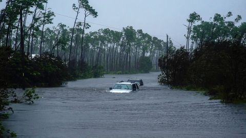 A car is submerged in Freeport floodwaters on September 3.