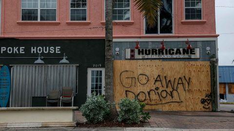 Businesses are shuttered near Jetty Park in Fort Pierce, Florida, on September 2.