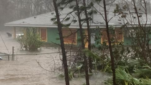 A house is flooded in Freeport on September 3.