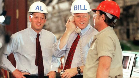 Clinton and his running mate, US Sen. Al Gore, tour a factory in Davenport, Iowa, in 1992.