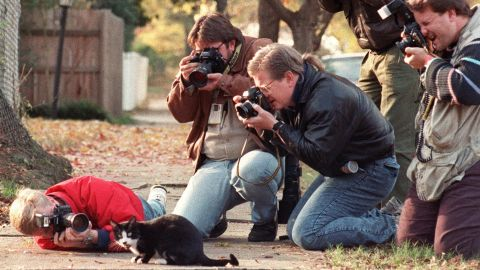 The Clintons' cat, Socks, is photographed outside the Governor's Mansion in Little Rock in November 1992.
