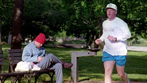 Clinton takes his morning jog through the National Mall in May 1993.