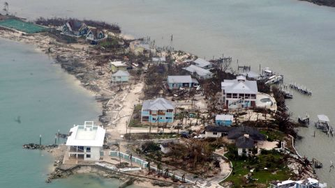 Damaged homes are seen in this aerial photograph from the Bahamas on September 3.