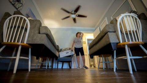 Debbie Pagan checks her raised furniture one last time before she and her husband evacuated their home in Tybee Island, Georgia, on September 4.