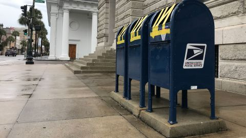 Mailboxes are taped shut in Charleston on September 4.