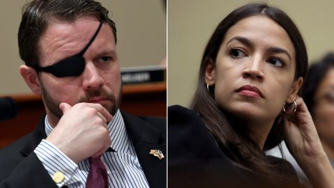 At left, Republican Rep. Dan Crenshaw of Texas; at right, Democratic Rep. Alexandria Ocasio-Cortez of New York. The two freshmen lawmakers clashed on Twitter on Wednesday over the issue of gun control.
