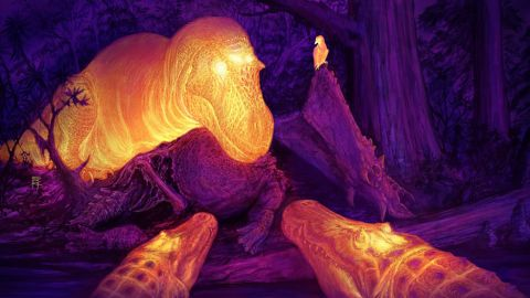 A graphic thermal image of a T. rex with its dorsotemporal fenestra glowing on the skull.