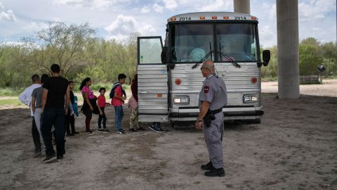 MCALLEN, TEXAS - JULY 02: Immigrants are transported to a processing center after they were taken into custody by U.S. Border Patrol agents on July 02, 2019 in McAllen, Texas. The immigrants, most from Central America, had rafted across the Rio Grande from Mexico to seek political asylum in the United States. (Photo by John Moore/Getty Images)