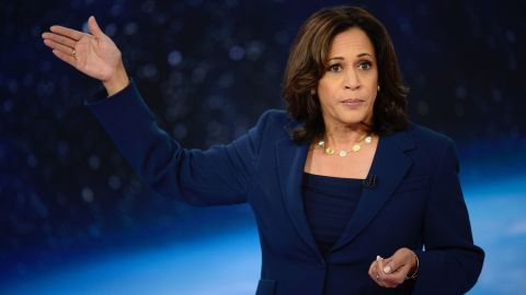 Democratic presidential candidate Kamala Harris participates in CNN's climate crisis town hall in New York on September 4, 2019.