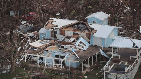 An aerial view of damage on the Bahamas' Great Abaco island.