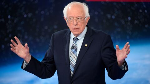 Democratic presidential candidate Bernie Sanders participates in CNN's climate crisis town hall in New York on September 4, 2019.