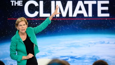 Democratic presidential candidate Elizabeth Warren participates in CNN's climate crisis town hall in New York on September 4, 2019.
