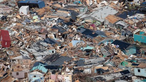 An aerial view of the destruction caused by Hurricane Dorian in Abaco, Bahamas.