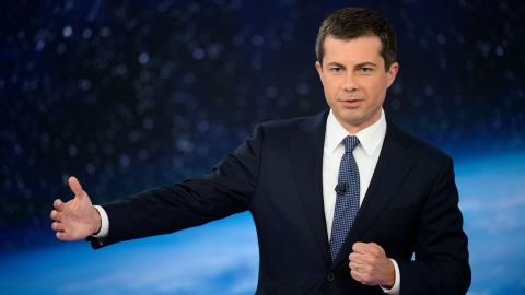 Democratic presidential candidate Pete Buttigieg participates in CNN's climate crisis town hall in New York on September 4, 2019.