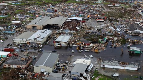 This aerial image shows damage on the Bahamas' Great Abaco island on Tuesday, September 3.