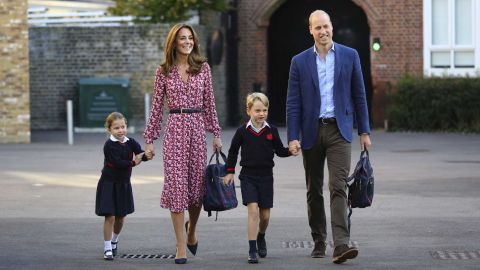 """Britain's Princess Charlotte is joined by her parents and her brother Prince George as she arrives for <a href=""""https://www.cnn.com/2019/09/05/uk/princess-charlotte-school-gbr-intl/index.html"""" target=""""_blank"""">her first day of school</a> on Thursday, September 5."""