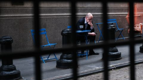 NEW YORK, NEW YORK - MAY 31: A trader pauses outside of the New York Stock Exchange (NYSE) on May 31, 2019 in New York City. The Dow closed down over 300 points on Friday as investors weigh proposed new tariffs against Mexican goods and continued negotiations with China.  (Photo by Spencer Platt/Getty Images)
