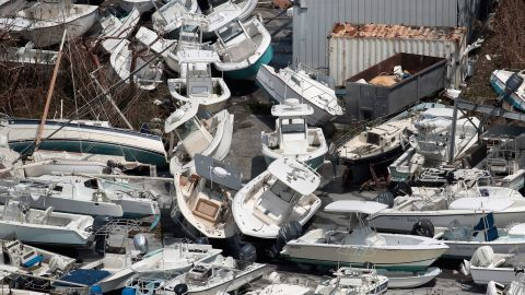 Boats are piled up on the Bahamas' Great Abaco island on September 4.