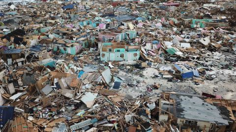 Homes flattened by Hurricane Dorian are seen in Abaco, Bahamas, Thursday, Sept. 5, 2019. The stormÕs devastation has come into sharper focus as the death toll climbed to 20 and many people emerged from shelters to check on their homes. (AP Photo/Gonzalo Gaudenzi)