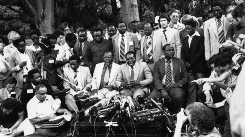 Mugabe holds a news conference in Salisbury -- now Harare, the capital of Zimbabwe -- in March 1980. He had just been elected as the first prime minister of Zimbabwe, helping to form the new country after British rule of Rhodesia came to an end.