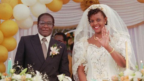 Mugabe marries Grace Marufu on August 17, 1996. Earlier in the year, he was re-elected President after all of his opponents dropped out of the race.