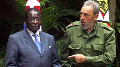 Mugabe and Cuban President Fidel Castro are seen in Havana, Cuba, in September 2005.