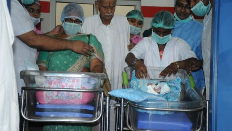 Erramatti Mangayamma (73) and  E. Raja Rao (80) at Ahalya IVF & Nursing Home in Andhra Pradesh.