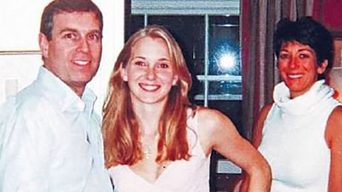 A photograph appearing to show Prince Andrew with Jeffrey Epstein's accuser Virginia Roberts Giuffre and, in the background, Ghislaine Maxwell.