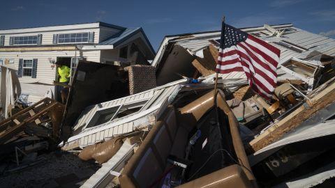 A man surveys damage at the Boardwalk RV Park in Emerald Isle, North Carolina, on Friday, September 6.