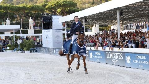 Ben Maher and Explosion W celebrating another victory in Rome.