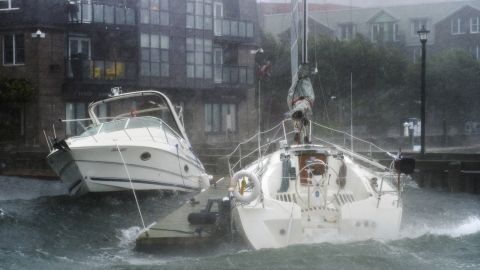 Waves crash into boats in Halifax, Nova Scotia, as Hurricane Dorian approached on September 7.