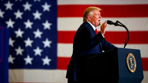 President Donald Trump speaks during a campaign rally at the Crown Expo, Monday, Sept. 9, 2019, in Fayetteville, N.C. (AP Photo/Evan Vucci)