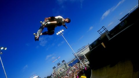 24 Jun 1998:  Tony Hawk grabs his skateboard vertical as he jumps from the ramp during the X-Games in San Diego, California. Mandatory Credit: Tom Hauck/Allsport